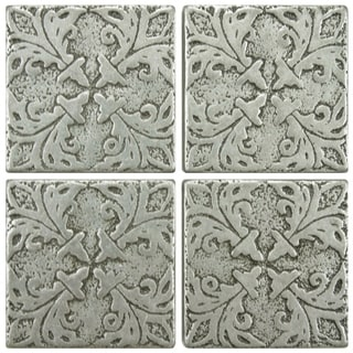 SomerTile 2x2-inch Courant Bouquet Pewter Tozetta Medallion Metal Floor and Wall Insert Tile (Pack o