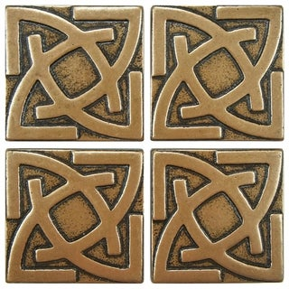 SomerTile 2x2-inch Courant Gaiden Bronze Tozetto Medallion Metal Floor and Wall Tile (Pack of 4)