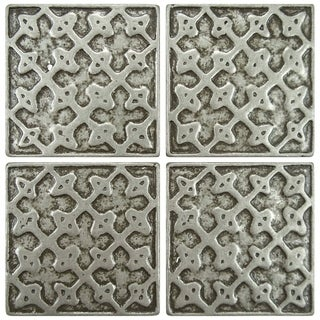 SomerTile 2x2-inch Courant Lattice Pewter Tozetto Medallion Metal Floor and Wall Insert Tile (Pack o