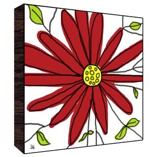 12x12 Big Red Flower Wood Art
