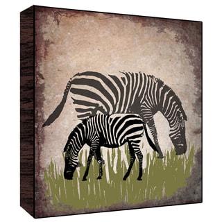 12x12 Vintage Zebras Wood Art