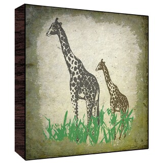 12x12 Vintage Giraffes Wood Art