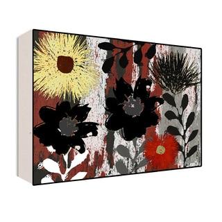 28x22 Abstract Flowers II Wood Art