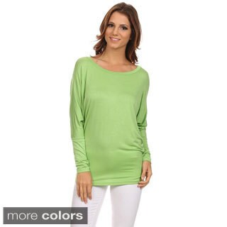 MOA Collection Women's Solid Rayon and Polyester Dolman-sleeved Scoop-necked Top Blouse