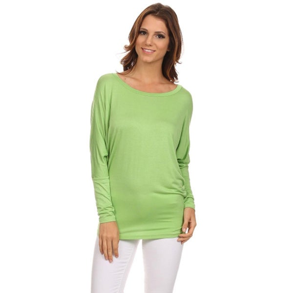 4453ba38c56db MOA Collection Women  x27 s Solid Rayon and Polyester Dolman-sleeved Scoop-