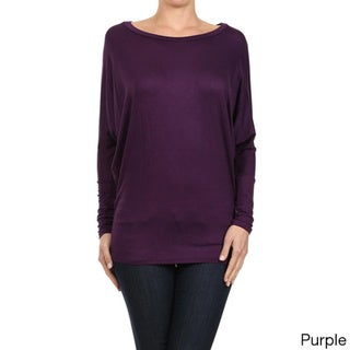 MOA Collection Women's Solid Color Dolman Sleeve Scoop Top