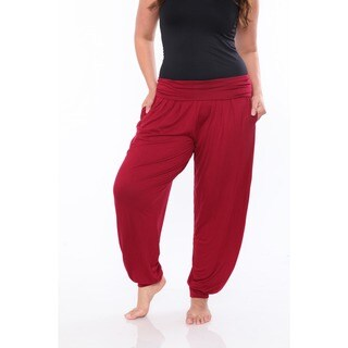 White Mark Women's Plus Size Harem Pants