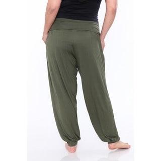 White Mark Women's Plus Size Harem Pants