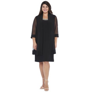 R&M Richards Women's Plus Sheer Jacket Dress
