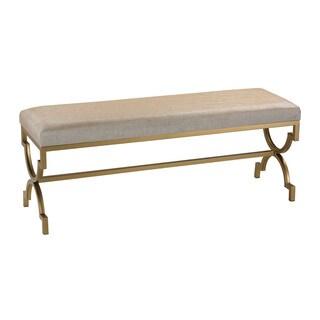 Sterling Double Bench in Cream Metallic Linen