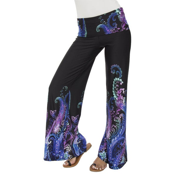 White Mark Women's Black/ Purple Relaxed Palazzo Pants