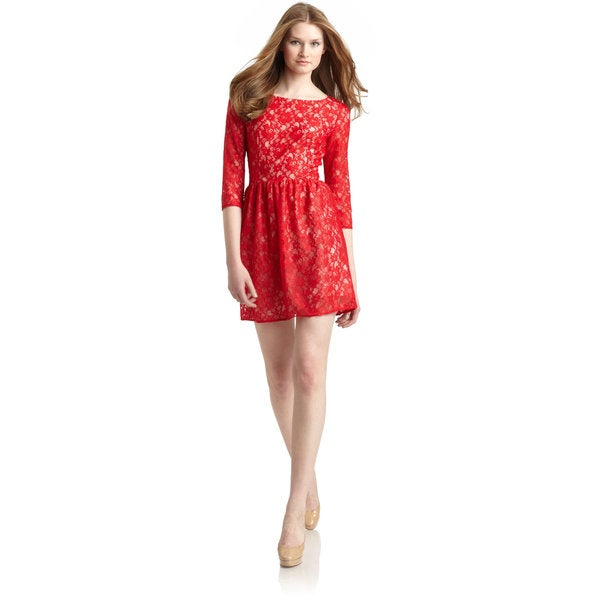 French Connection Lizzie Strawberry Red Lace Fit And Flare Dress ...