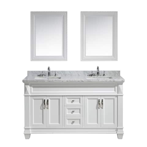 Design Element Hudson 60 inch Double Sink Vanity Set in White with White Carrara Marble Countertop