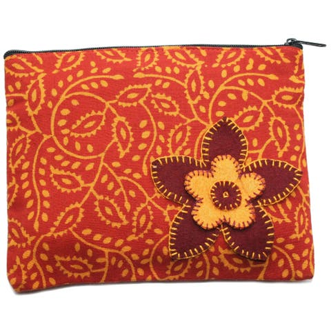 Handmade Rust Booti Coin Pouch (India)