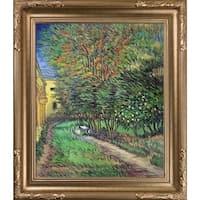 Vincent Van Gogh 'Asylum and Garden' Hand Painted Framed Canvas Art