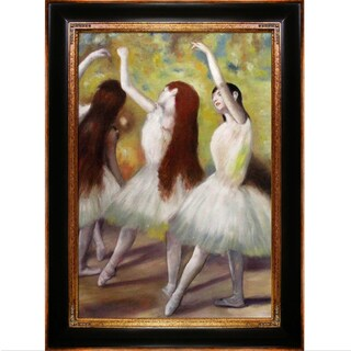 Edgar Degas 'Dancers in Green' Hand Painted Framed Canvas Art