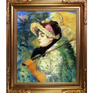 Edouard Manet 'Spring (Study of Jeanne Demarsy)' Hand Painted Framed Canvas Art