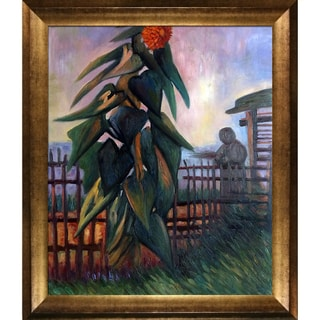 Vincent Van Gogh 'The Garden with Sunflower' Hand Painted Framed Canvas Art