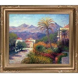 Claude Monet 'Strada Romada in Bordighera' Hand Painted Framed Canvas Art