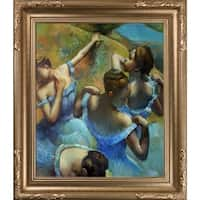 Edgar Degas 'Blue Dancers' Hand Painted Framed Canvas Art