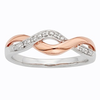 H Star Sterling Silver and 10k Rose Gold Two-tone Diamond Accent Braid Twist Ring
