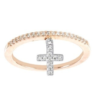 H Star 10k Rose and White Gold 1/6ct Diamond Cross Charm Ring (I-J, I2-I3)