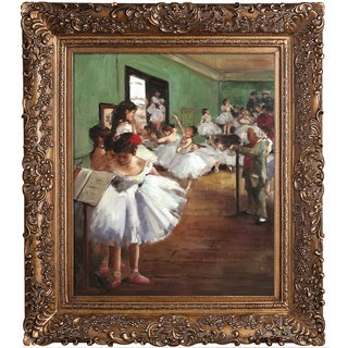 Edgar Degas 'The Dance Class' Hand Painted Framed Canvas Art