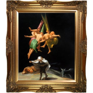 Francisco Goya 'Witches in the Air' Hand Painted Framed Canvas Art
