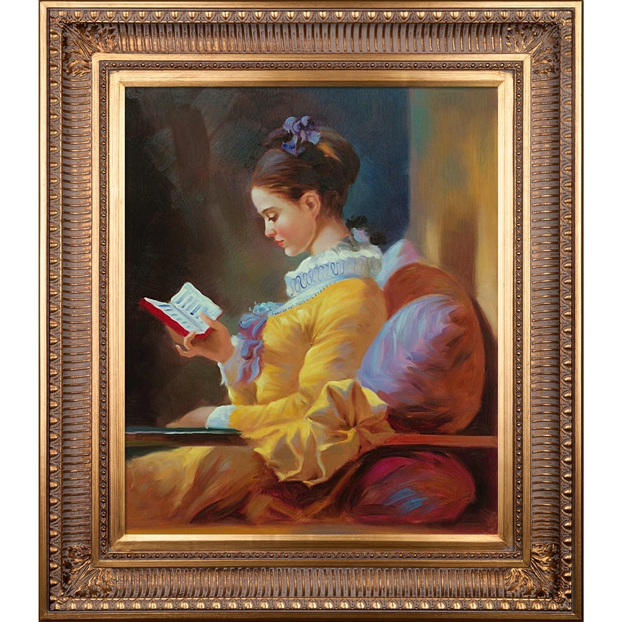 La Pastiche Jean Fragonard 'The Reader' Hand Painted Fram...