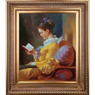 Jean Fragonard 'The Reader' Hand Painted Framed Canvas Art