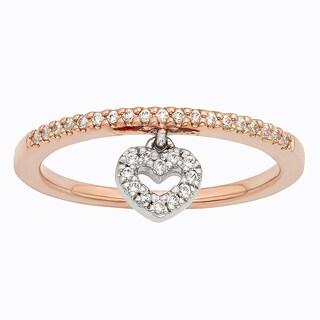 H Star 10k Rose and White Gold 1/6ct Diamond Heart Charm Ring (I-J, I2-I3)