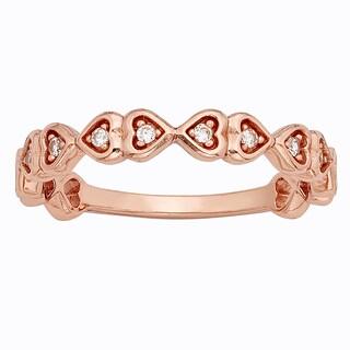 H Star 10k Rose Gold 1/10ct Diamond Heart Ring (I-J, I2-I3)