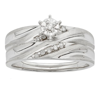 H Star Sterling Silver Diamond Accent Wedding Ring Set
