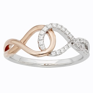 H Star Sterling Silver and 10k Rose Gold Two-tone 1/8ct TDW Diamond Infinity Ring (I-J, I2-I3)