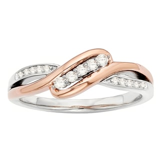 H Star Sterling Silver and 10k Rose Gold Two-tone 1/8ct TDW Diamond Angled Ring (I-J, I2-I3)