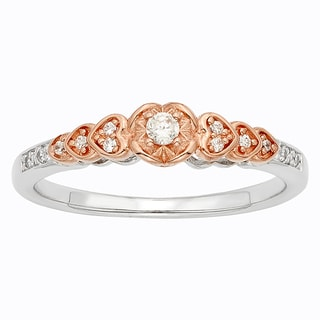 H Star Sterling Silver and 10k Rose Gold 1/8ct TDW Diamond Heart Promise Ring (I-J, I2-I3)