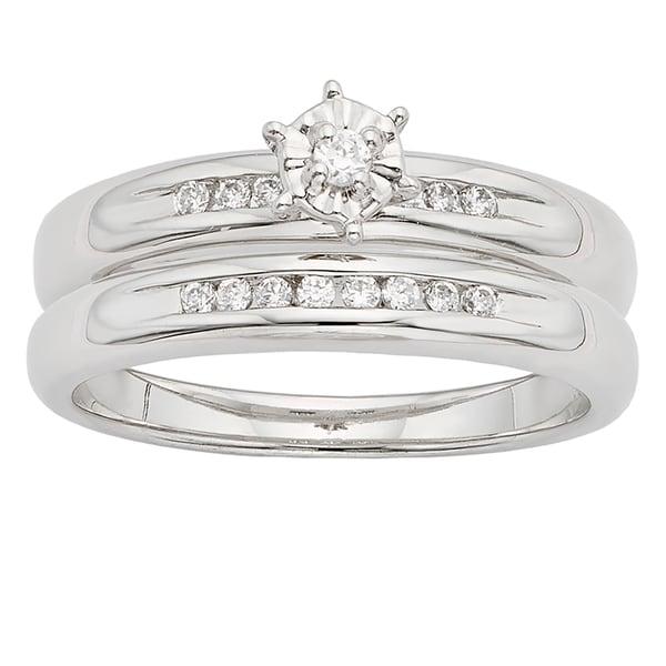 H Star Sterling Silver 1/4ct TDW Diamond Wedding Ring Set