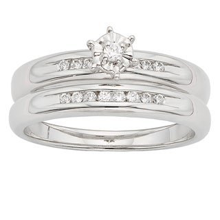 H Star Sterling Silver 1/4ct TDW Diamond Wedding Ring Set (I-J, I2-I3)