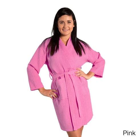 Lightweight Waffle Kimono Unisex Spa Robe Square Pattern (One Size)