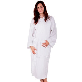 100-percent Cotton Waffle Kimono Diamond Pattern Unisex Spa Robe