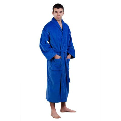 100-percent Pure Turkish Cotton Unisex Shawl Collar Terry Velour Bathrobe