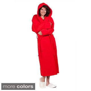 100-percent Pure Turkish Cotton Unisex Hooded Terry Velour Bathrobe (Option: Red)