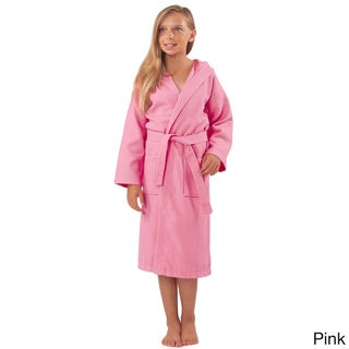 100-percent Turkish Cotton Kid's Hooded Waffle Bathrobe