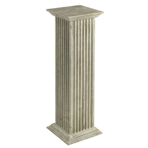 Distressed Whitewashed 30 Inch Square Fluted Pedestal