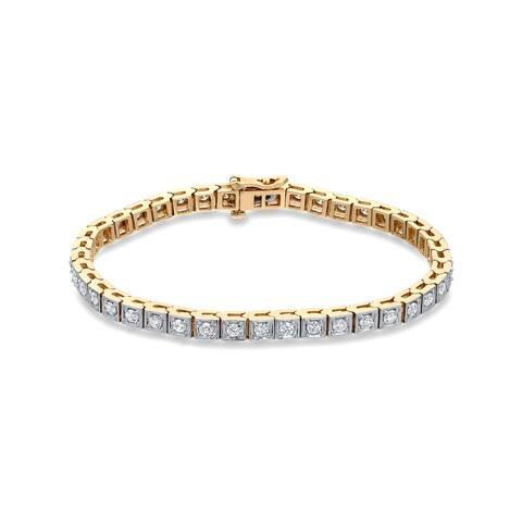 Auriya 2 1/4ctw Round Diamond Tennis Bracelet 14k Two-tone Gold - White