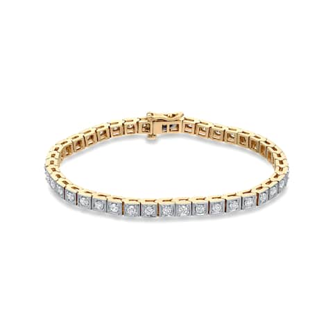 Auriya 2 1/4ctw Round Diamond Tennis Bracelet 14k Two-tone Gold - White