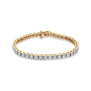 Auriya 14k Two-tone Gold 2 1/4ct TDW Round Cut Diamond Bracelet (H-I, SI2-SI3)