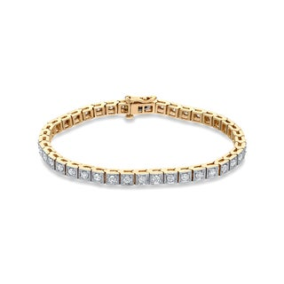 Auriya 14k Two-tone Gold 2 1/4ct TDW Round 7-inch Diamond Tennis Bracelet