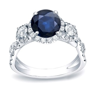 Auriya 14k Gold 1ct Blue Sapphire and 1ct TDW Round Diamond Engagement Ring (H-I, SI1-SI2)