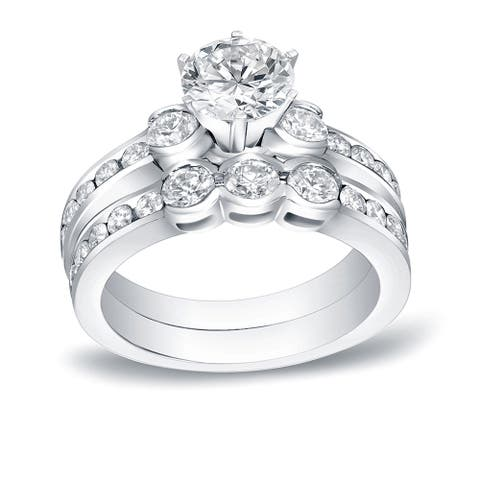 Auriya 14k Gold 1 1/2ctw Round 3-Stone Diamond Engagement Ring Set